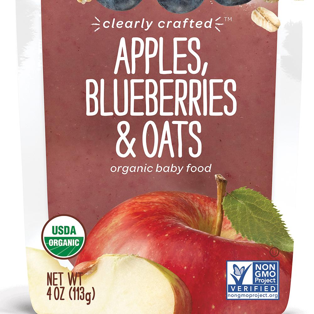 美國 HappyBABY 精透系列有機嬰兒食品: 蘋果+藍莓+燕麥