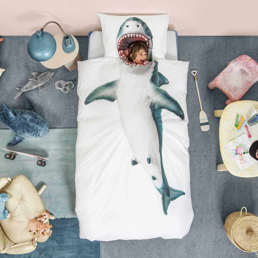 The Netherlands Brand Snurk 100% Cotton Printed Sngle Bedlinen Set (Shark)