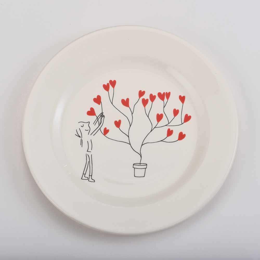 Gien Amoureux series - dessert plate 22cm - Arbre a ceours