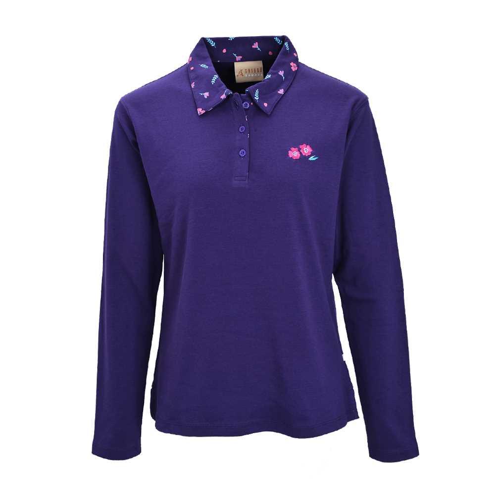 Chissa Sports Ladies Cotton Polo T-shirt CS-428 (D.Purple)