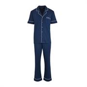 Schiesser 男裝翻領開衫短袖長褲套裝35/16809H-寶藍色