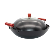 TME Iron Steel 2 Handles Wok with Lid 38cm With Gift
