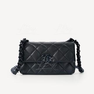 Chanel 細號黑色鏈帶垂蓋手袋