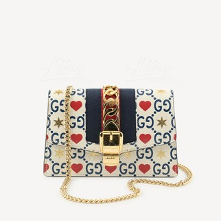 Gucci Sylvie皮革迷你鏈帶手袋 星心GG Logo 限量版