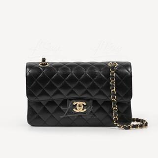 Chanel 黑色經典垂蓋手袋 23cm 金色CC logo