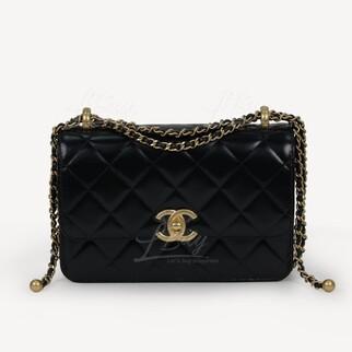 Chanel 新款小金球小牛皮22cm細號垂蓋手袋鏈帶包