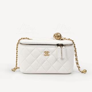 Chanel Vanity Case 小金球白色鏈帶長型化妝盒子