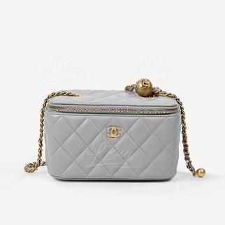 Chanel Vanity Case 小金球灰色鏈帶長型化妝盒子