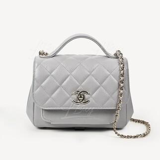 Chanel Affinity 灰色手挽垂蓋手袋