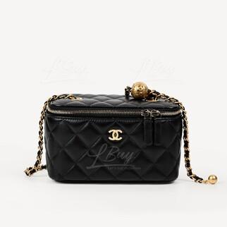 Chanel Vanity Case 小金球黑色鏈帶長型化妝盒子