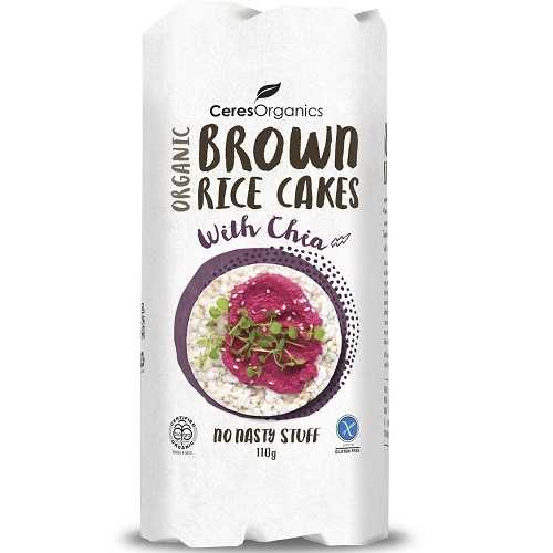 Ceres Organics Brown Rice Cakes w/Chia 110g