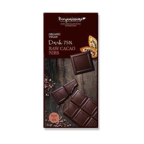 Benjamissimo Organic Vegan 75% Dark Chocolate (Raw Cacao Nibs)