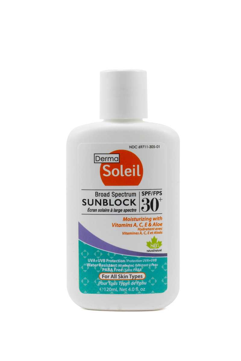 Derma Soleil 80% Natural Adult Sunblock SPF30 (120ml)