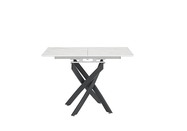 雲石紋伸延餐桌 - 白色 (009)